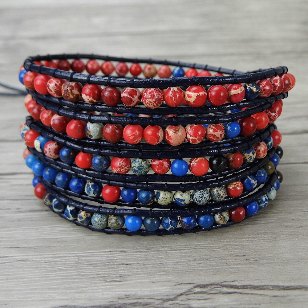 Leather wraps beads bracelet multi colors beads bracelet red and blue beads bracelet natural stone jewelry yoga bohemian
