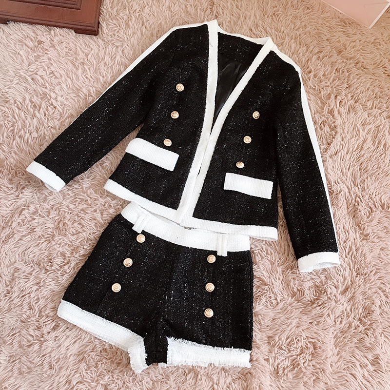 HIGH STREET Newest Fashion Runway 2018 Suit Set Women's Double Breasted Lion Buttons Tweed Blazer Coat Shorts Suit Set