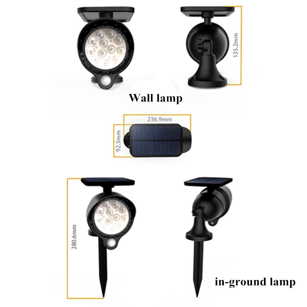 Светодиодный светильник на солнечной батарее, датчик движения PIR, настенный светильник, наружный водонепроницаемый энергосберегающий свет... - 3