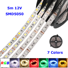 Led Strip 5050 DC 12V RGB LED Strip Non-Waterproof 60leds/m 5m/lot 300 Led Tape strips Lamp SMD 5050 Flexible Led strip light