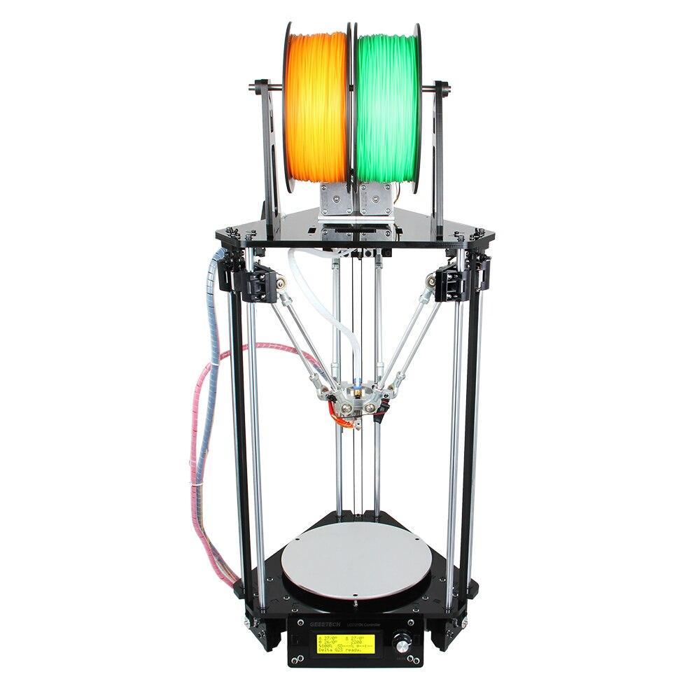 Geeetech 3D Printer Dual Heads Rostock Mini G2S Pro Delta Auto Kits All Metal High Resolution Impressora LCD Free