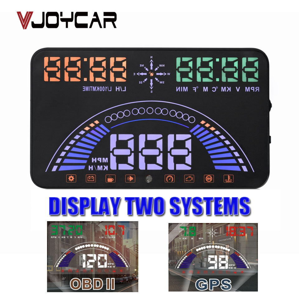 VJOYCAR Hud OBD + GPS 2 in 1 Car Speed Projector Head Up Display Digital Speedometer Diagnostic Tool Film Windshield Projection new obd car speed projector hud head up display digital speedometer obd2 diagnostic tool