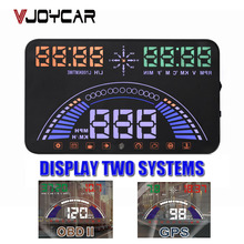 VJOYCAR Hud OBD + GPS 2 in 1 Car Speed Projector Head Up Display Digital Speedometer Diagnostic Tool Film Windshield Projection
