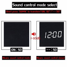 Cube Wooden Clock LED Digital Alarm Clock Electronic Table Watch Voice Control no Radio Nixie clcok For Children kids Bedside