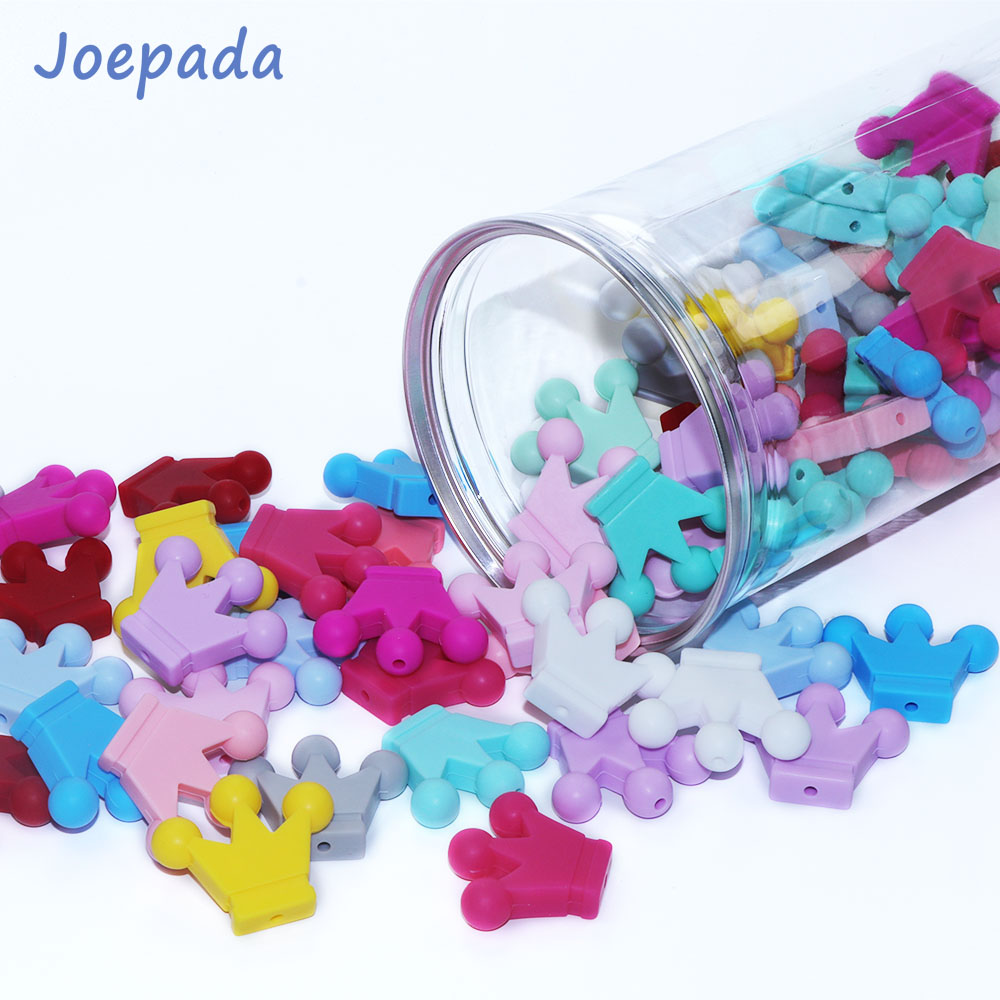 Joepada 100pcs Crown Beads Silicone Teething Toys Pearl Food Grade For Silicone Pacifier Chain Making DIY Baby Teething Gift