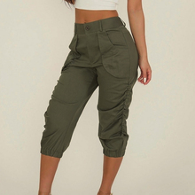 Pants Women Pleated Ladies Cropped Capri Pants