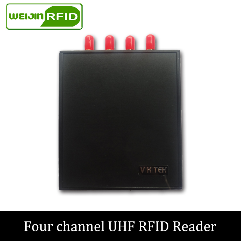 UHF RFID 915MHz VIKITEK VFR4 High performance reader 4 antenna port fixed Reader for warehouse and logistic and production line rs232 uhf rfid fixed reader impinj r2000 with 4 antenna ports for marathon sporting provide free sdk and sample card and tag