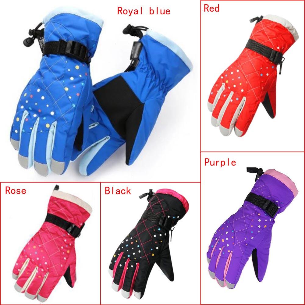 Prix pour Hiver des gants imperméables pour les filles Neige Gants de Ski Moto Vélo enfants Chaud Complet Doigt gants de ski femmes 5 Couleur