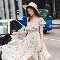 UNIQUEWHO чистого шелка Винтаж Платье с цветочным принтом тонкий сексуальный глубокий V шеи Асимметричная длинные платья для Для женщин Летнее