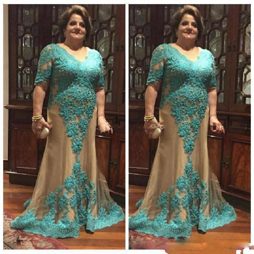 Lace Appliques Wedding Dress For Mothers/Mother Of Bride/Groom V-neck Plus Size