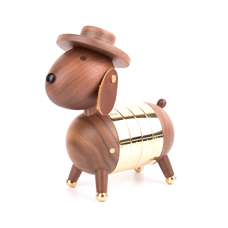 Wooden Puppy Calendar European Furnishings Creative Gifts Wooden Dog Toys Nordic Crafts Wood Home Decoration
