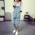 Estilo coreano Denim Verão Macacão Macacões 2016 das Mulheres da Moda Denim Buraco Feminino Calças Cinta Estilo Preppy Solto Fino S-ML