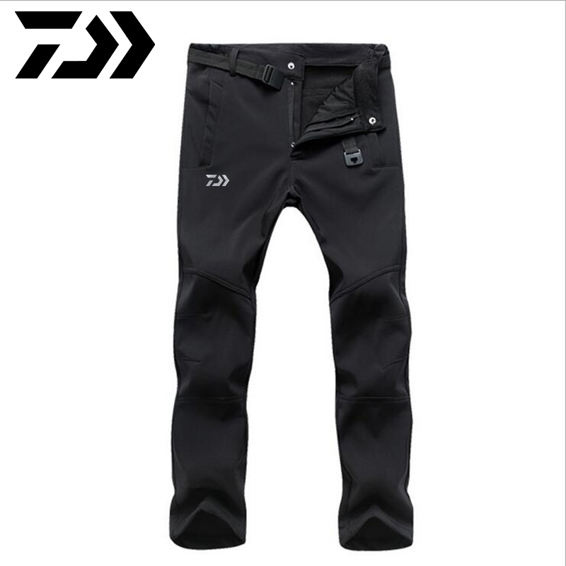 Daiwa Camping Hiking Pants Winter Men Outdoor Sport Trousers Waterproof Fleece Fishing Pants Trekking Mountain Climbing