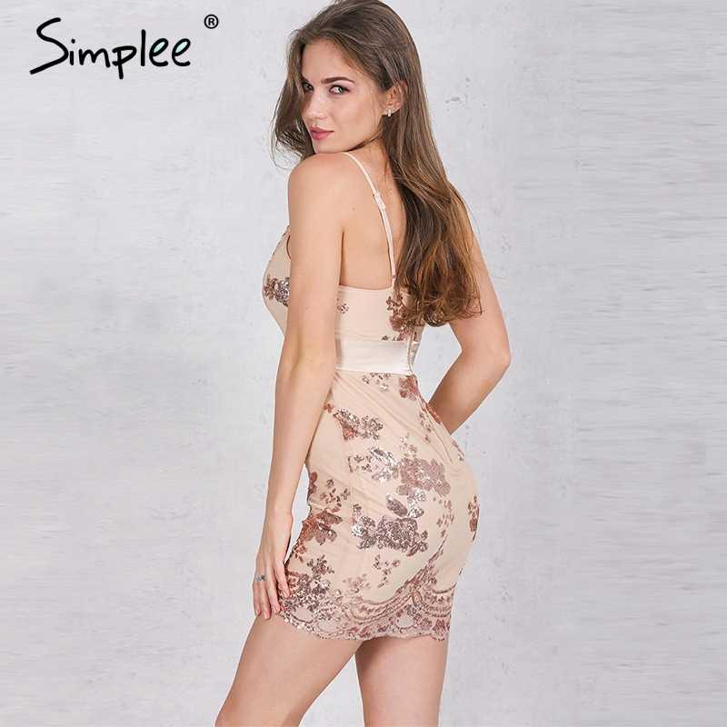 Летнее женское короткое платье Simplee, с блестками, праздничное вечернее элегантное облегающее платье с V-образным вырезом, пляжное мини-платье