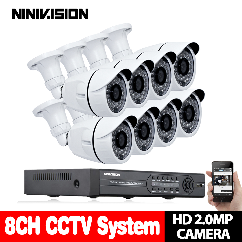 цена на 8CH CCTV System 1080P DVR 8PCS 3000TVL IR Weatherproof Outdoor Video Surveillance Home Security Camera System 8CH DVR Kit