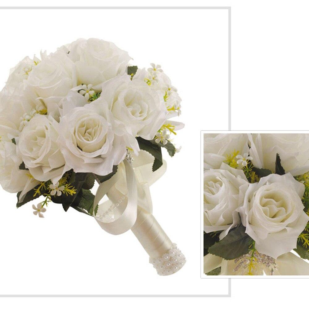Bouquet de mariage Blanc Rose Cristal Soie Artificielle Fleurs Perle Demoiselle D'honneur Mariée Fleurs Mariages Décoration Dropship F416 dans Artificielle et Fleurs Séchées de Maison & Jardin