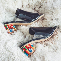KemeKiss 2019 Brand Large Sizes 34-41 Colorful Rhinestone Crystals Heels Peep Toe Summer Women'S Shoes Woman Sandals Slippers 5