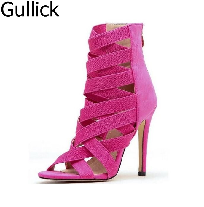 Newest Summer Candy Color Boots Turquoise Fuchsia Elastic Cross Strap High Heel Sandals Stiletto Heel Gladiator Pumps Free Ship