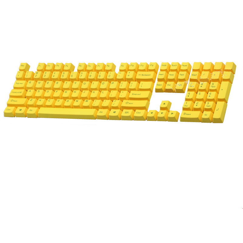 PBT Keycaps Yellow Top Printed Cherry MX Key Caps For MX Switches Tenkeyless 87/104/108 Keys Mechanical Keyboard