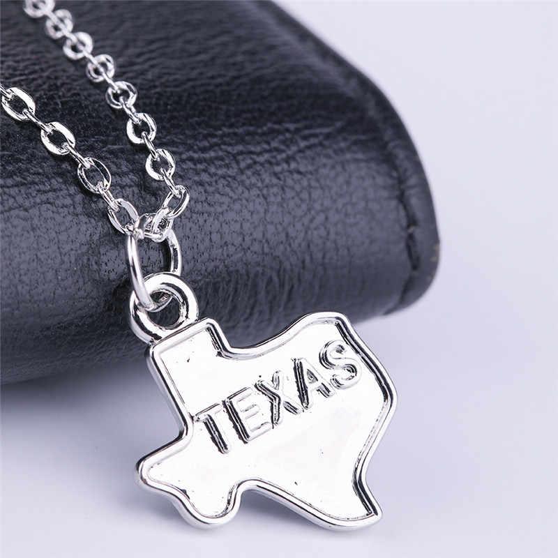 Skyrim оптовая торговля штат Техасский Geographic античное ожерелье с подвеской Серебряная Карта Шарм ожерелье s персонализированные ювелирные изделия подарок