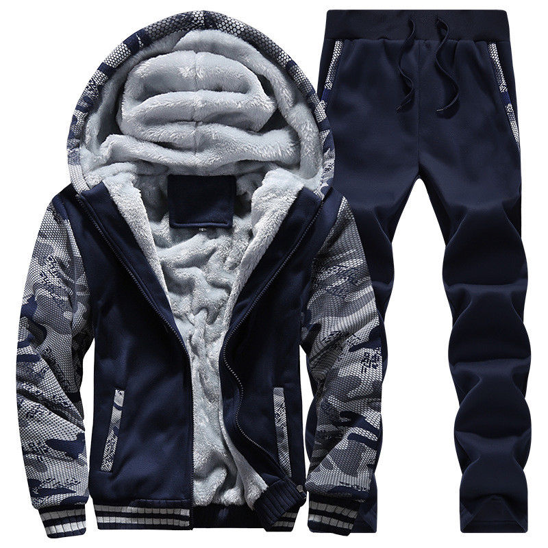 2Pcs Mens Tracksuit Warm Fleece Sport Hooded Sweatshirt Coat Hoodies+Pants Sweat Suit Thicken Chinese Size M-4XL 11styles