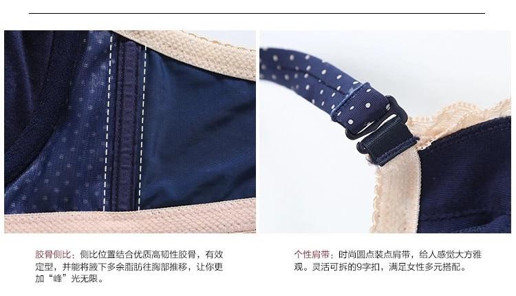 female line dot lace push up deep V inserts bra set for women brassiere lingerie underwear set