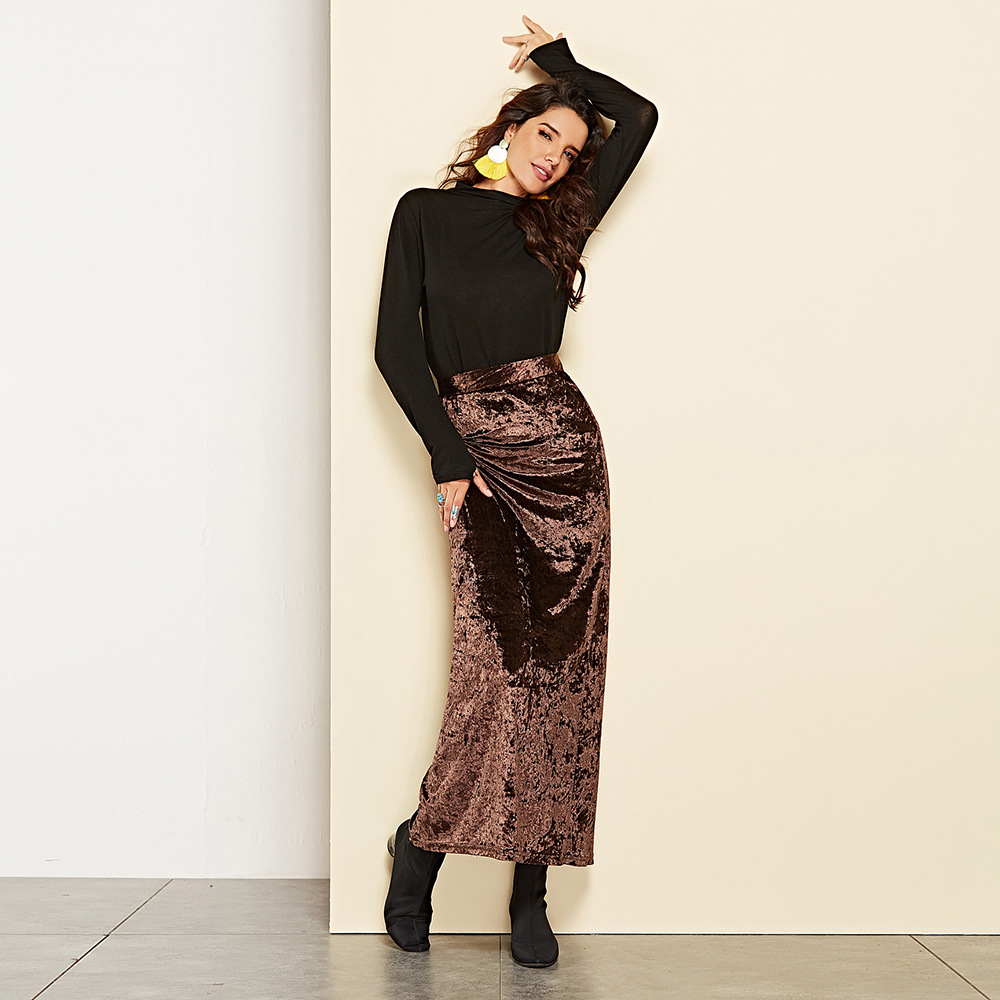 2019 Autumn and Winter velvet skirt new hot selling long female autumn high waist fork