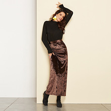 2019 Autumn and Winter velvet skirt new hot selling long female autumn high waist fork