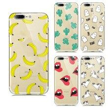 Soft TPU case For Apple Iphone 7 case Silicon fruit Lemon Banana Emojio Donuts Macaron Paras