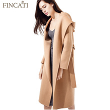 Women Coat 2017 High-End Autumn Winter 100% Wool Hooded Soft Long Jacket Outwear Clothing Casaco Feminino