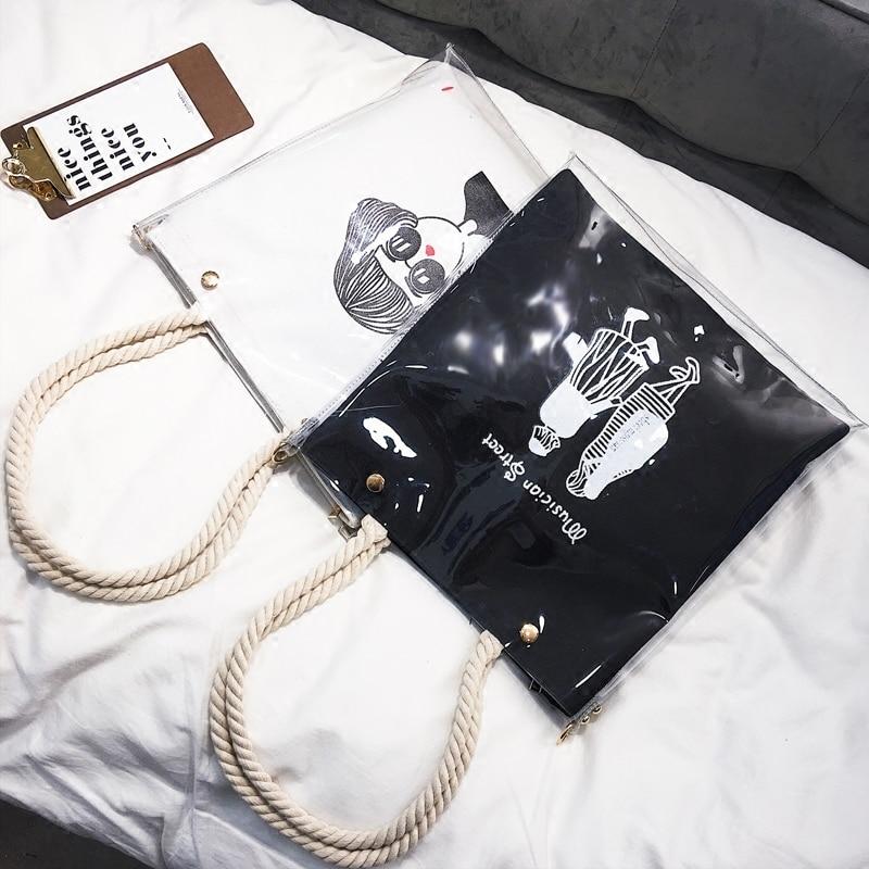white white Di 2 Black A Le Crossbody Tela black Cuoio Del Lusso Main Tote Delle Progettista Donne Spalla Fumetto Borse 1 1 Canapa Per 2 Sac 2018 Sacchetto SpFXK