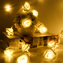 HOT SALE Battery Operated LED Rose Flower Christmas Holiday String Lights For Valentine Wedding Decoration 20 LED Lamp 9 color