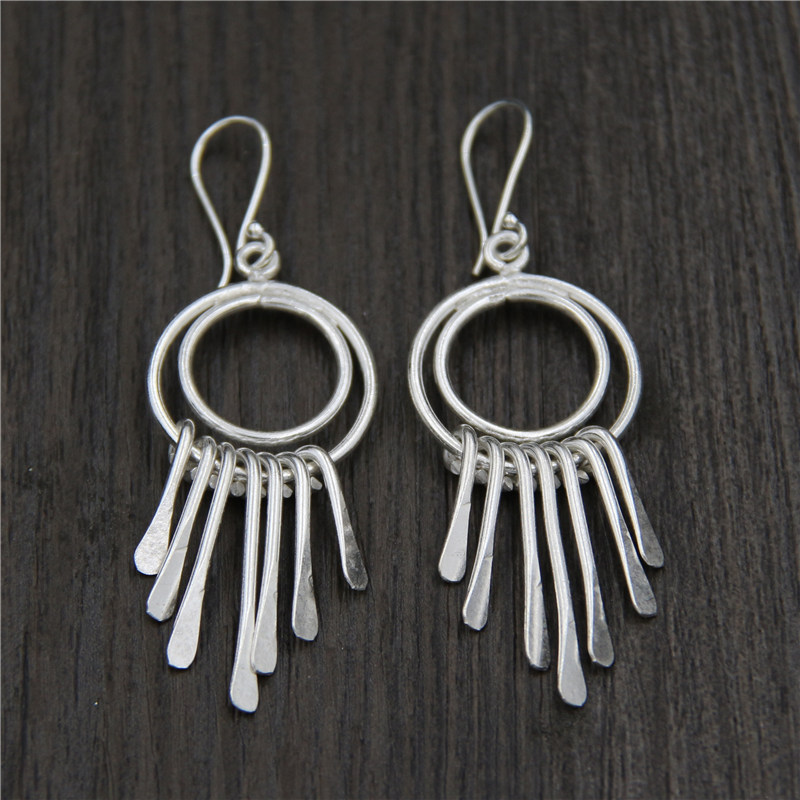 C&R Real 925 Sterling Silver Earrings for Women Double Cycles Tassel Thai Silver Drop Earrings Handmade Fine Jewelry