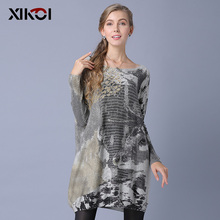 XIKOI Long Sweater Women Jumper Spring Oversized Pullover Casual Batwing Sleeve Print Fashion Woman Sweaters Clothes Pullovers