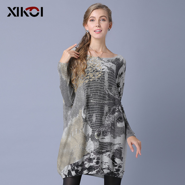 """XIKOI длинный свитер Для женщин джемпер Весна негабаритных пуловер Повседневное рукав """"летучая мышь"""" Модные принты женские свитера пуловеры"""
