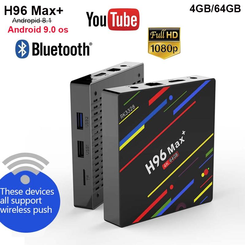 H96 MAX Plus Android 9.0 TV BOX RK3328 Quad Core 4G 32G/4G 64G rom 4 K BT4.0 2.4/5G wifi smart TV BOX H96 Max + lecteur multimédia