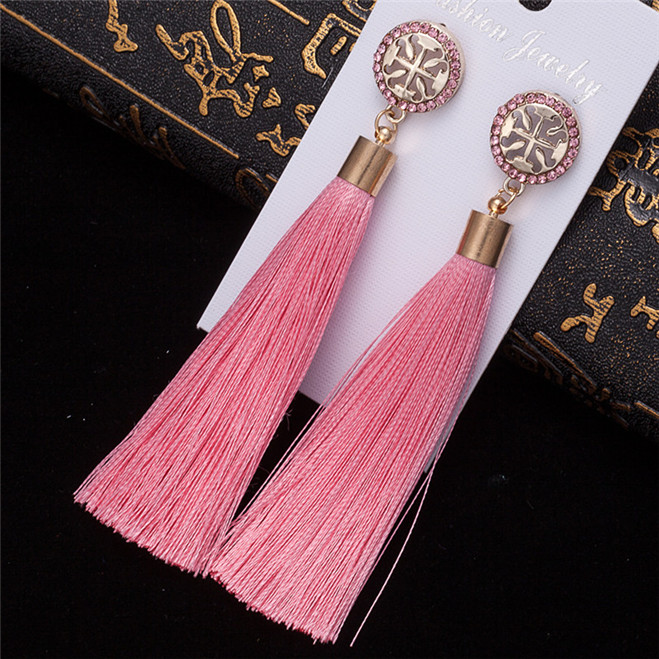 HTB1SVGtV3HqK1RjSZFgq6y7JXXaO - HOCOLE Bohemian Crystal Tassel Earrings Black White Blue Red Pink Silk Fabric Long Drop Dangle Tassel Earrings For Women Jewelry