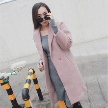 Women Thicken Button Palto Pink Color Woolen Down Coat Autumn Long Warm Wool Jacket Manteau Femmee Korean Cloak Winter Maxi Coat