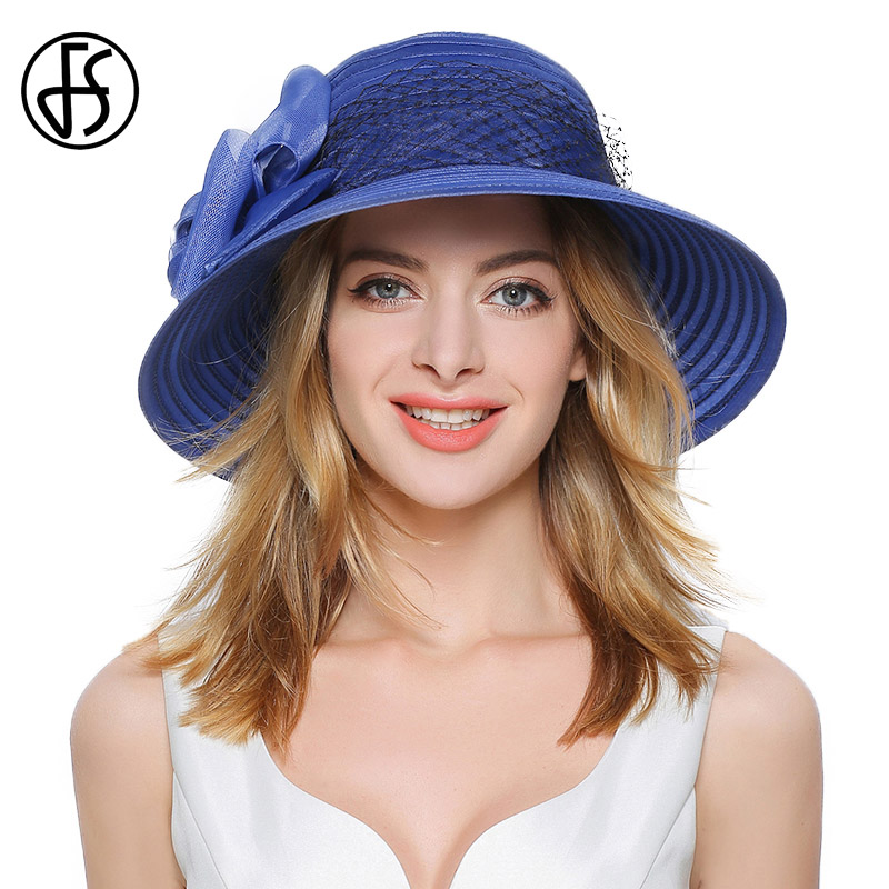 FS Summer Elegant Women Large Brim Organza Sun Hat Purple Blue Fedora Ladies Bow With Gauze
