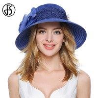 FS Yaz Zarif Kadın Büyük Ağız Organze Güneş Şapka Mor Mavi Fedora Bayanlar Bow Ile Tül Kilisesi Korumak Uv Plaj Cloche Şapkalar