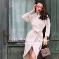 Le Palais Vintage 2017 Spring New Elegant Off White Imitation Cashmere Slim Package Type Wool Coats Adjustable Waist Women Coat
