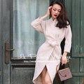 Le Palais de La Vendimia 2017 Nueva Primavera Elegante Off Blanco Imitación de la Cachemira Delgada Paquete Tipo Lana Coats Cintura Ajustable Capa de Las Mujeres