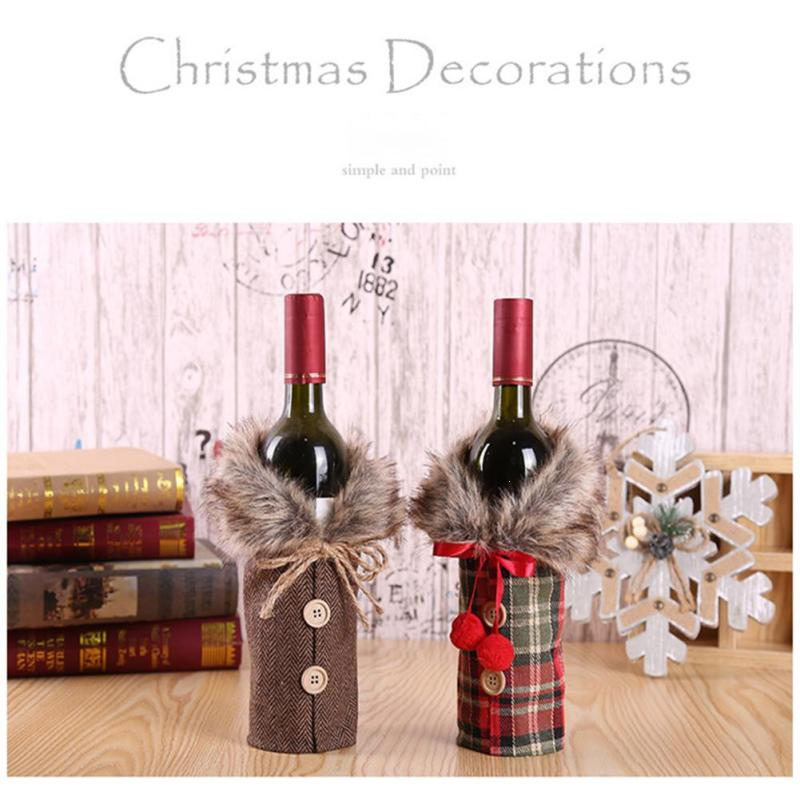 Christmas Red Wine Bottle Button Clothes Dinner Bottle