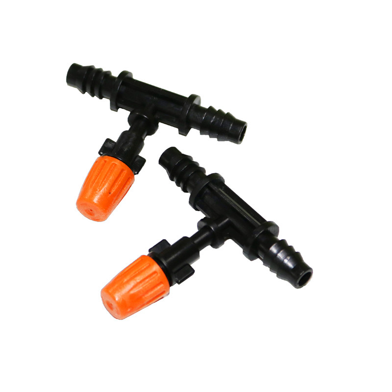 5pcs Atomizing Nozzle Orange T-shaped Hose Irrigation Nozzle Atomization Nozzle Garden Lawn Sprinkler Irrigation System