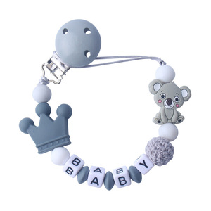 Personalized Name Baby Pacifier Clips Koala Pacifier Chain Holder for Baby Teething Soother Chew Toy Dummy Clips(China)