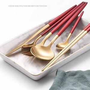 Image 2 - 2020 新加入レッドゴールド食器西部カトラリースプーンフォークナイフ箸食器セット食品の写真撮影の背景の小道具