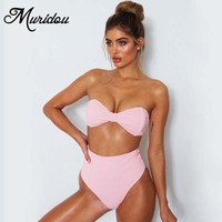 Muridou 2018 Summer Bow Strapless Bikini Set Swimwear Women Cute Pink Bow Bathing Suit High Waist