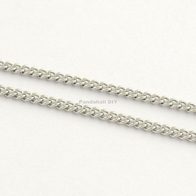 Stainless Steel Twisted Chains, Stainless Steel Color, 0.4x1.2x1.8mm; about 25m/roll