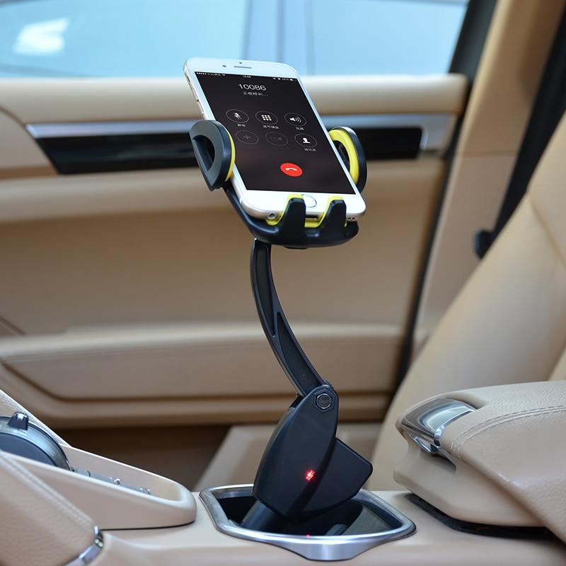 Mobiltelefonholder Universal Langarm til Samsung Iphone Dual USB Ladere Bil Lader Støtte Mobil Bil Telefon Stå ved CDEN