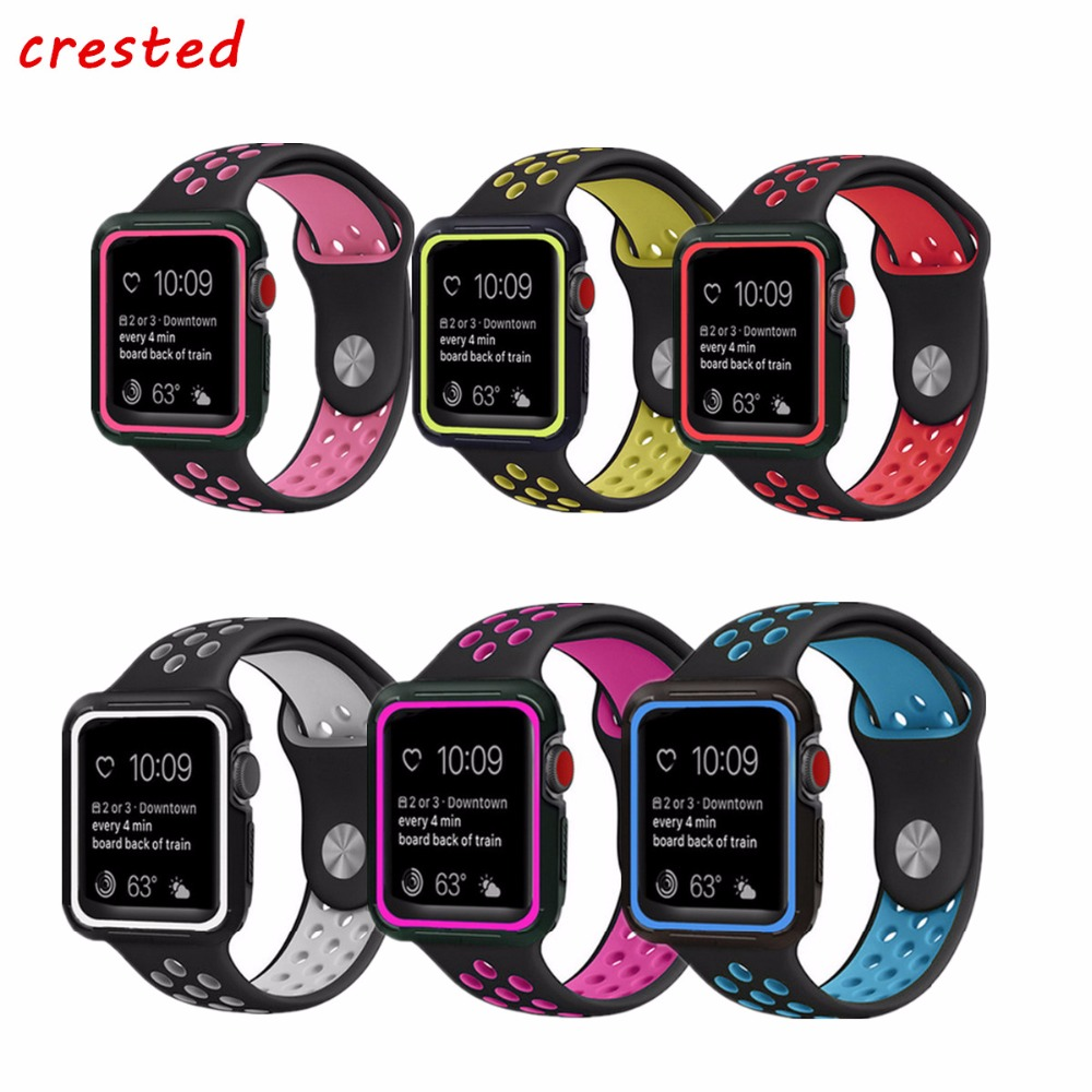 CRESTED sport band for apple watch 3 42mm 38mm strap for iwatch nike 3/2/1 wrist band Bracelet silicone strap & Protective Case sport silicone strap case for apple watch band 42mm 38mm bracelet nike watchband protective case for iwatch 3 2 1 wrist belt